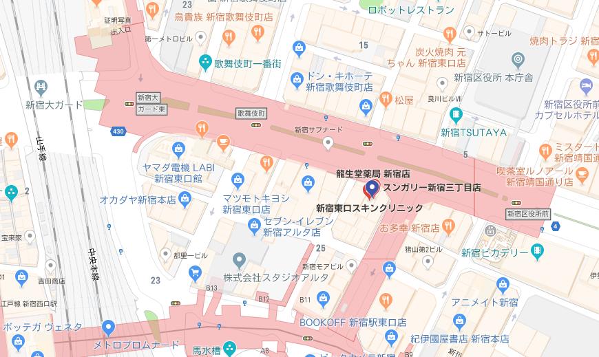 ササラ新宿店地図